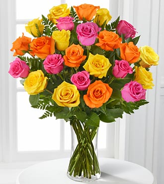 Bright Blush Rose Flower Bouquet - 24 Stems Of 16-Inch Roses - Vase Included