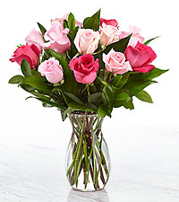 Perfectly Pink Rose Bouquet of 16-inch Roses