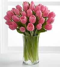 Pink Prelude Tulip Bouquet with Glass Vase