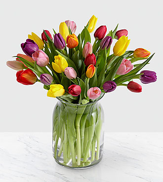 Rush Of Color Assorted Tulip Flower Bouquet - 30 Stems - Vase Included