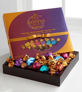 Godiva Chocolate Assorted Gems - 34 Piece Gift Basket