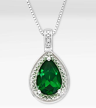 1-5/8 Ct. Created Emerald Pear Drop Sterling Silver Pendant Necklace