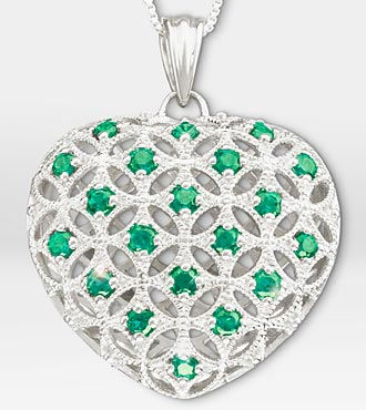 1 Ct Tw Created Emerald Filigree Heart Sterling Silver Pendant Necklace