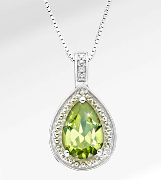 1-5/8 Ct. Genuine Peridot Pear Drop Sterling Silver Pendant Necklace