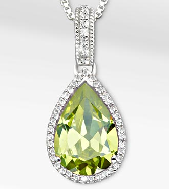 7-3/4 Tgw Genuine Peridot With White Sapphires Sterling Silver Pendant Necklace