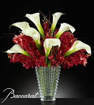 Rush Of Beauty Flower Bouquet With Baccarat Crystal Vase - 20 Stems