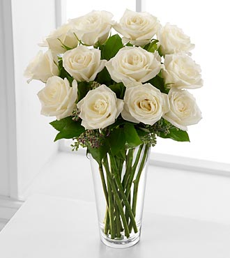 The FTD Long Stem White Rose Flower Bouquet - VASE INCLUDED
