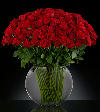 Breathless Luxury Rose Flower Bouquet - 100 Stems Of 24-Inch Premium Long-Stemmed Roses - Vase Included
