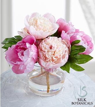 Jane Seymour Silk Botanicals Mixed Pink Peonies In Glass Vase