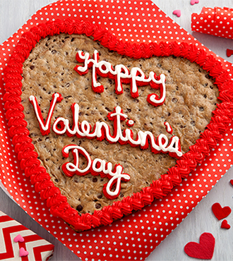 Valentine's Day - Mrs. Fields Happy Valentine's Day                               Heart-Shaped Cookie Cake